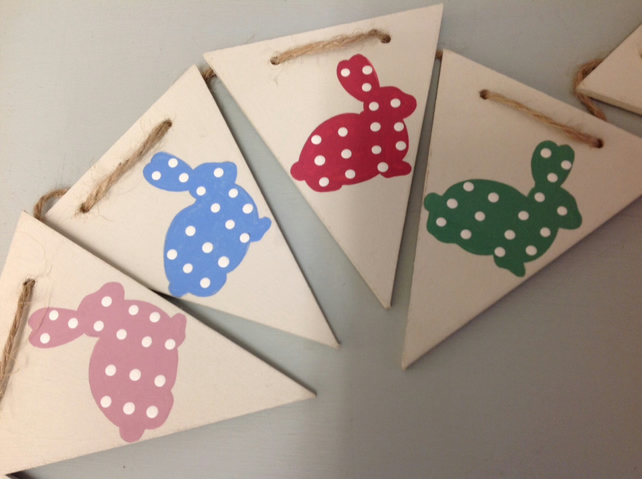 Polka Dot Rabbit Wooden Bunting