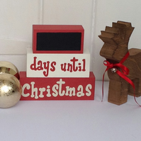 Countdown To Christmas - Days Until Christmas -  Wooden Shelf Decor Blocks
