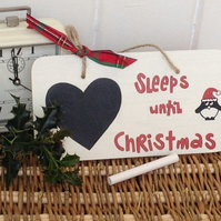 Countdown To Christmas - Sleeps Until Christmas - chalkboard wooden sign