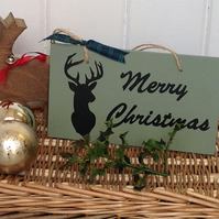 Merry Christmas with Stag - Wooden Sign