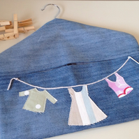 Light Blue Recycled Denim Peg Bag