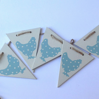 Blue Polka Dot Wooden Chicken Bunting