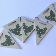 Green Polka Dot Chicken Wooden Bunting