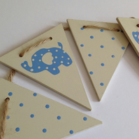 Wooden Blue Elephant Bunting