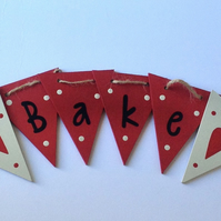 Red Bake Wooden Bunting