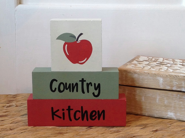 Country Kitchen -Wooden Shelf Decor Blocks