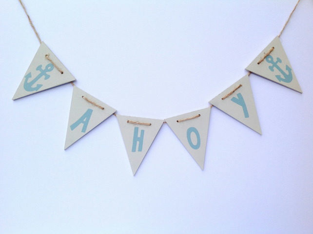 Nautical bunting, Ahoy, wooden bunting