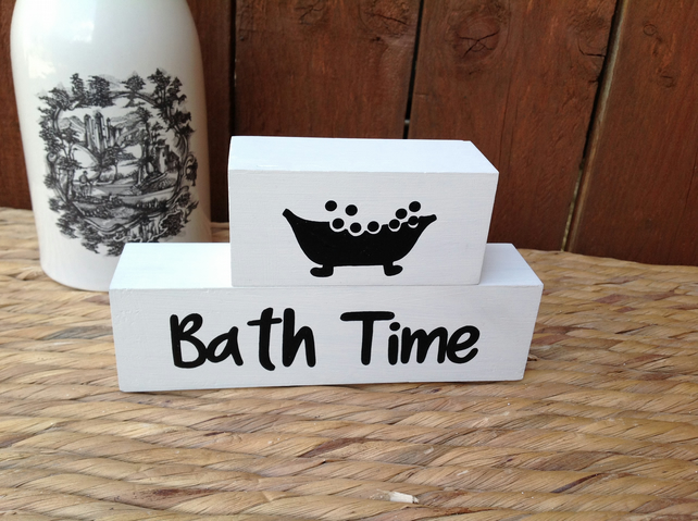 Bath Time, painted word blocks, bathroom decor