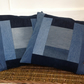 "Recycled denim cushion cover, 16"" x 16"" patchwork cover"