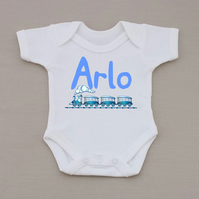 Personalised Name boys babygrow. Add any name to make the perfect gift.