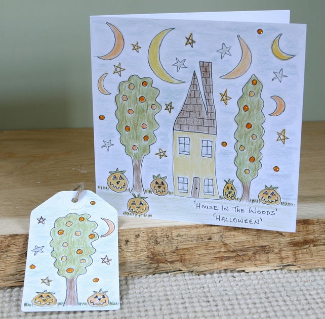Halloween Card & Gift Tag, Blank Card, Original Art, House In The Woods