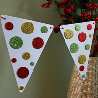 Bright & Sparkly Christmas Bunting, Christmas Decoration