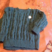 Teal colour cable sweater