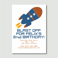 Blast off Printable Children's rocket print your own party invitation PYO DIY