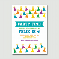 Printable Colourful Party Hats and Party Time Banner Childrens party invitation