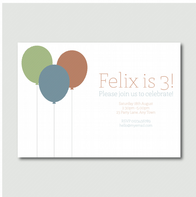 Printable Sweet children's balloon party invitation pyo diy invitation boys