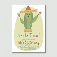 Printable Children's Mexican Cactus Fiesta Time print your own party invitation