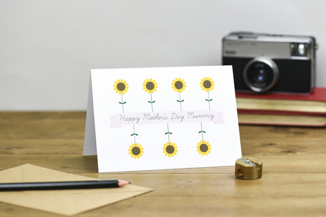 Jolly sunflower Happy Mother's Day Mummy Card mum mom mommy