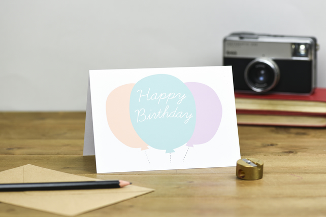 Happy Birthday Balloon card in pastel colours peach green pink