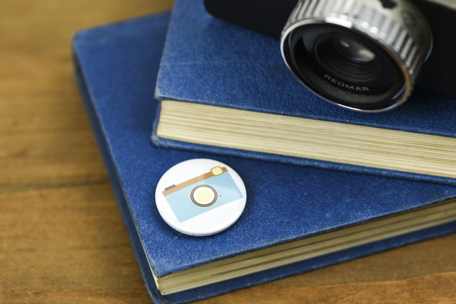 Blue Camera Pin Badge Button Photography Photographer