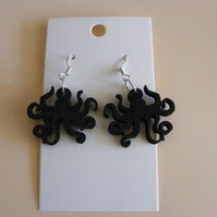 Laser cut silhouette octopus earrings