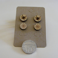 Real wood Spider and web stud earrings