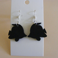 Tropical reef fish silhouette earrings