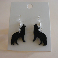 Howling Wolf silhouette stud or drop earrings