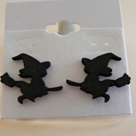 Witch on a broomstick silhouette stud earrings guaranteed to raise a smile