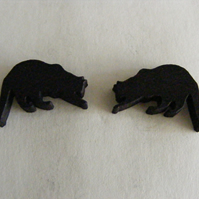 Prowling cat silhouette stud or drop earrings