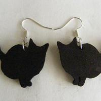 Black Fat Cat earrings as studs or drops
