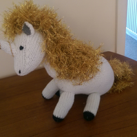 White Unicorn Soft Toy with sparkly gold mane