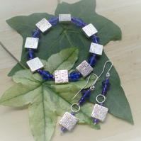 SILVER AND BLUE BRACELET AND EARRING SET