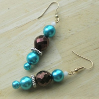CHOCOLATE BLUE DROP EARRINGS - POSTAGE INCLUDED