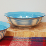 Salad bowl, handmade pottery in blue stripe