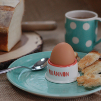 personalised egg cups, handmade pottery