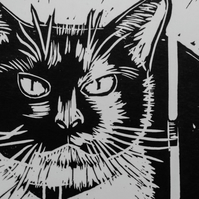 Cat Print - Original Detailed Handmade Linocut Print