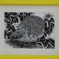 Hedgehog - Original Detailed Handmade Linocut Print