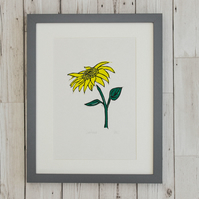 Sunflower - Handprinted Original Linocut