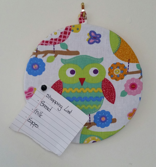 Covered Cork Pinboard - Owl
