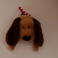 Dog (Soft Toy) Head Wall Decoration - Red Scarf
