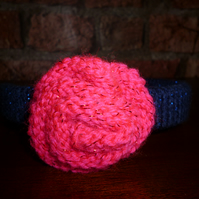 Knitted Navy Headband with Hot Pink Flower