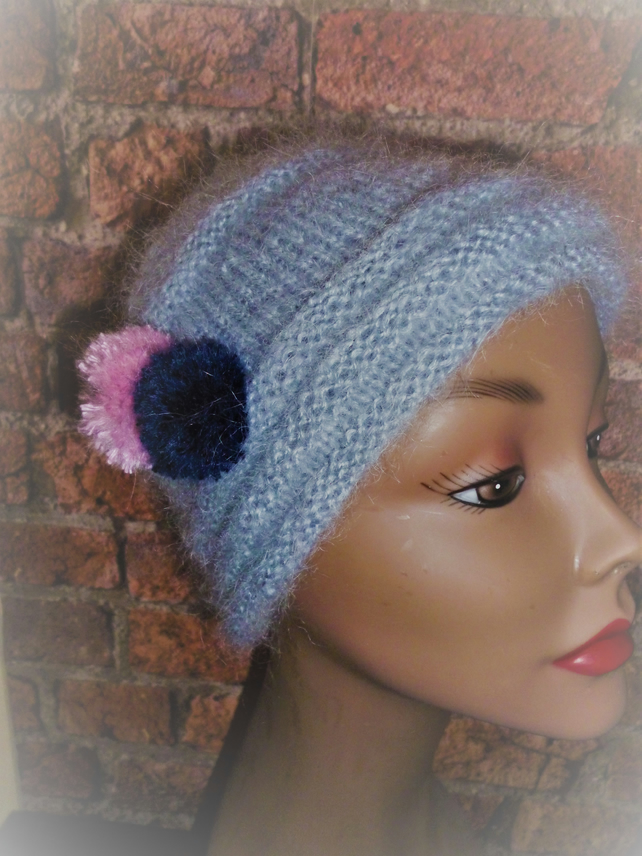 Women's 1950's Style Knitted Dove Grey Mohair Hat
