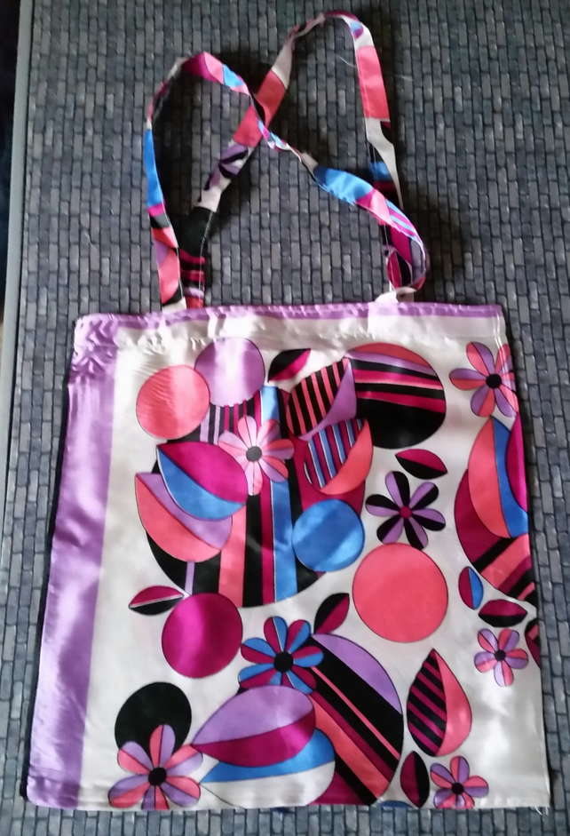 Vintage headscarf -  Shopping or Tote Bag - Colourful Print