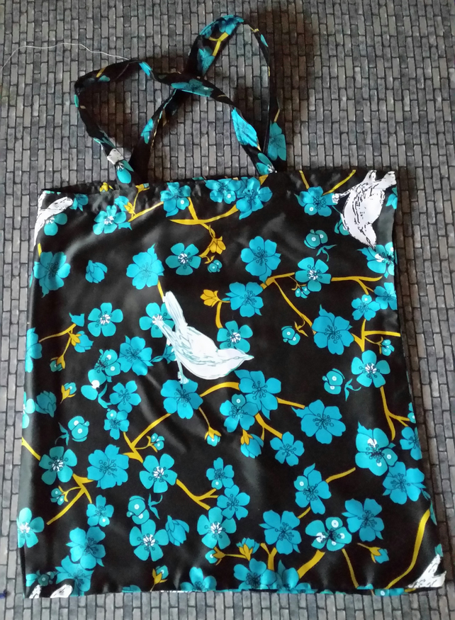 Silk Shopping or Tote Bag - Birds and Flowers Design