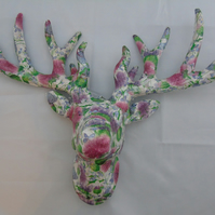 Faux Taxidermy - Decoupaged Thistle White Stag