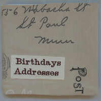 Fabric Covered Address and Birthday Book
