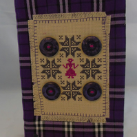 A5 Purple Tartan Removable Notebook Cover