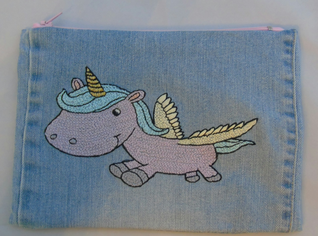 Unicorn Zippered Pouch Hand Embroidered onto Denim