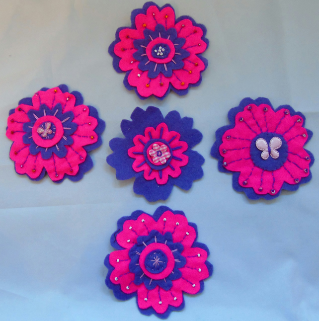 Felt Flower Brooches  - Pink and Purple
